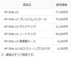 HP Elite x3価格